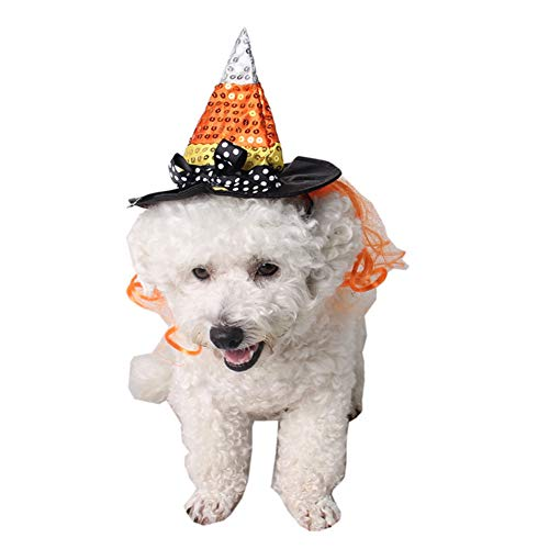 QBLEEV Cat Dog Wizard Costume Hat -Pet Halloween Costume Accessory - Funny Cosplay Party Accessory -
