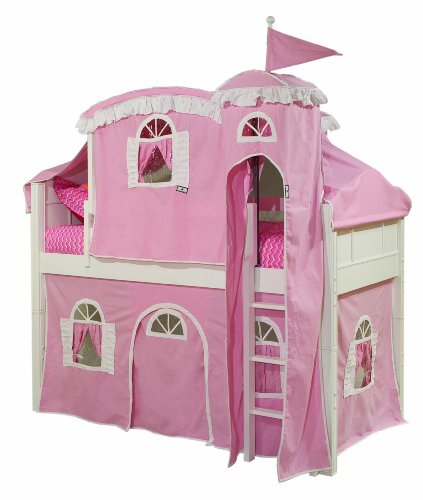 Bolton Furniture 9881500LT5PW Emma Low Loft Castle Bed with Ladder, Pink/White Tower, Top Tent, and Bottom Curtain Playhouse, (Low Loft Castle)
