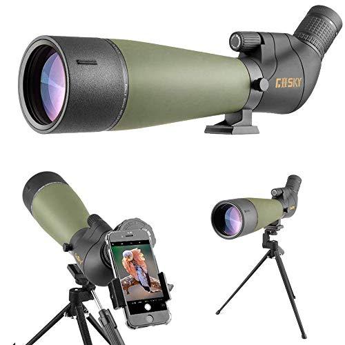 Lunette de visée Gosky Update 20-60x80 avec trépied, Sac de Transport et Adaptateur de téléphone - télescope coudé BAK4… 1
