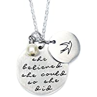 O.RIYA Oriya Stainless Steel She Believed She Could So She Did Necklace Bracelet Gift for Women Girl, Inspirational Necklace Bracelet