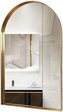 アーチ型壁鏡化粧鏡装飾鏡19x23inモダンゴールドバスルームミラー、ステンレス鋼金属フレーム1インチディープセットデザイン
