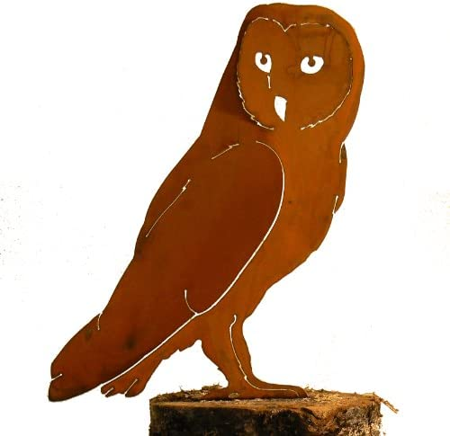 Elegant Garden Design Barn Owl, Steel Silhouette with Rusty Patina