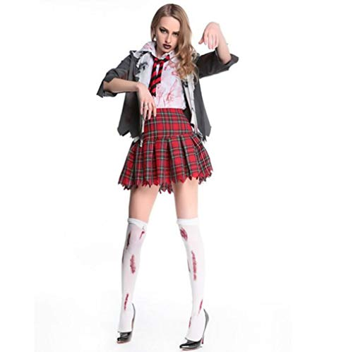 Female Stage Performance Halloween Four-Piece Sexy Dancers Scary Masquerade Girls Zombie Uniform Costumes/School Style Costume Ball Uniform Size]()