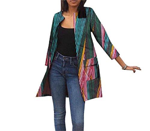 Vska Women Africa Jacket Pockets Dashiki Cardigan Printing Trench Coat 3 XS by Vska