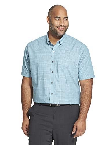 Van Heusen Men's Big Flex Short Sleeve Button Down Check Shirt, Turquoise Mallard Blue, 4X-Large Tall