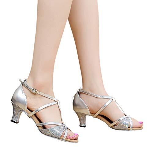 Fainosmny Summer Sandals Mid Heel Womens Wedding Pumps Fashion Buckle Strap Work Single Shoes Rumba Waltz Latin Dance Shoes Silver
