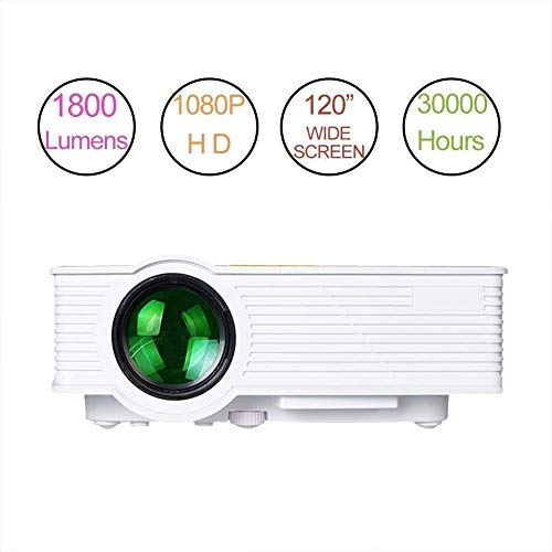 Video Projector HD 1080p Multimedia Home Theater Projector 1800 Lumens LED Portable Mini Projector Support HDMI USB SD AV for Home Cinema Movie Entertainment