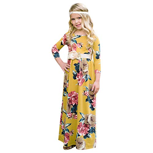 (Toddler Baby Girl 3/4 Sleeve Floral Pleated Casual Princess Long Maxi Dress Yellow)