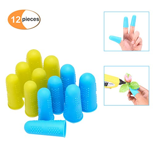 Finger Protectors, Blusmart 12 Pcs silicon finger tips rubber finger guards Protection Non-Stick Covers for Cracked Fingers, Gel Finger Cots for Hot Glue Gun, Sewing, Adhesives, Scrapbooking