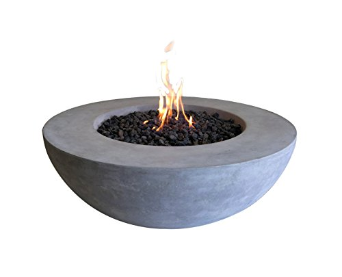 Elementi Lunar Bowl Cast Concrete Fire Pit - Natural Gas