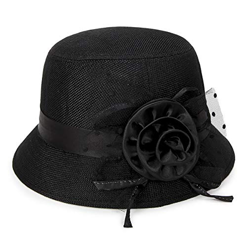 IL Caldo Women's Straw Summer hat Shading Ventilation Sun hat Fascinators (One Size, Black ()