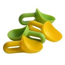 Premier Housewares - Cucharas Mini (4 Unidades), Color Verde y Amarillo