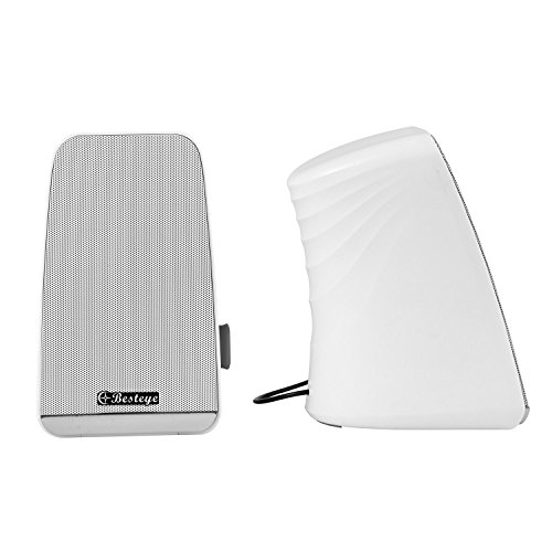 Besteye BE-829 USB Speakers for Computer Laptop Notebook Plug and Play with Enhanced Bass Resonator Stereo Sound PC Computer Speaker White by Besteye (Image #5)