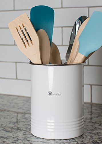 Kitchen Utensil Holder - Farmhouse Decor for Home - White Crock Organizer Caddy - Great for Large Cooking Tools by H+K Designs by H+K Designs (Image #2)
