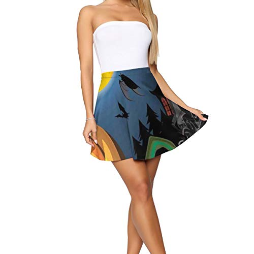 GULTMEE Women's Short Skirt,Gothic Halloween Haunted House Party Theme Design Trick Or Treat Motifs Print M]()