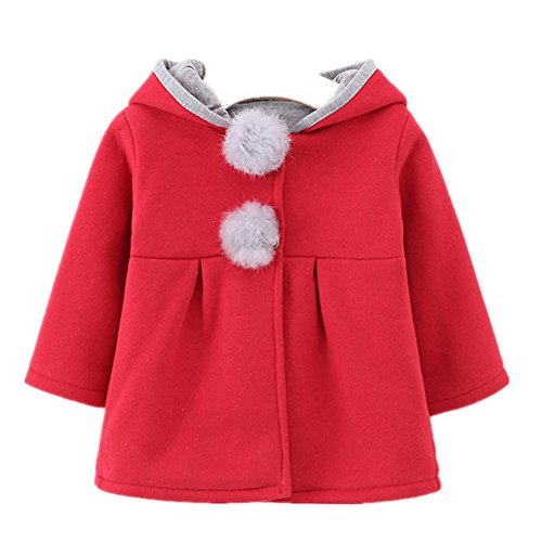 FTSUCQ Girls Baby Kids Hooded Coat Jacket Outwear Hoodies,Red 70 (Baby First Tv Growth Chart)