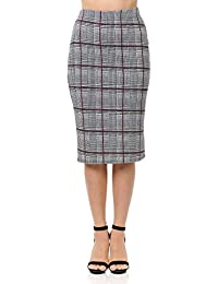 Women's Below Knee Stretchy Midi Pencil Skirt for Office Wear (S-3XL)