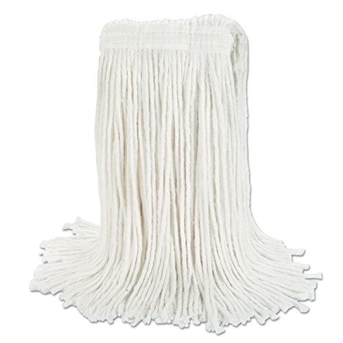Boardwalk RM03024S Banded Rayon Cut-End Mop Heads, White, 24 oz, 1 1/4