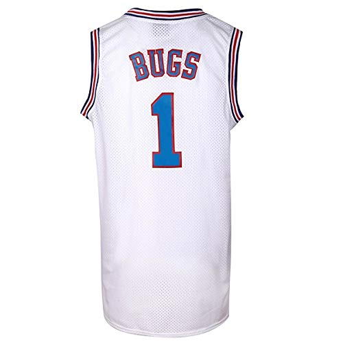 JOLI SPORT Bugs 1 Space Men's Movie Jersey Basketball Jersey S-XXXL White (L)