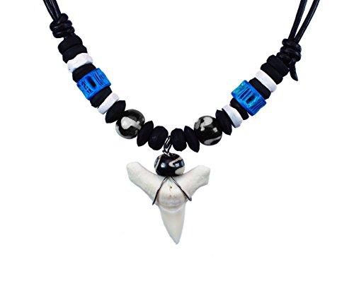 Exoticdream Shark Tooth Black Beads White Bones Necklace Handmade Hawaiian Style Beach Boy Jewelry - Blue (Perl Necklace)