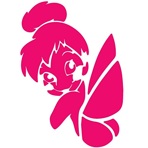 TINKER BELL LOGO ICON SYMBOL (PINK) (set of 2) - silhouette stencil artwork by ANGDEST - Waterproof Vinyl Decal Stickers for Laptop Phone Helmet Car Window Bumper Mug Cup Door Wall Home Decoration (Tinkerbell Silhouette)