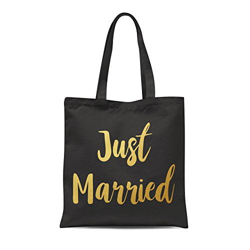 Gold Gift Bride Printed Print Groom Party Tote Just Black Bag Married Shopping Wedding Honeymoon With vqFO5