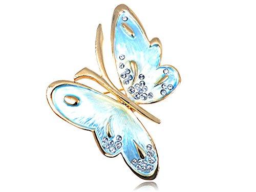 Alilang Swarovski Crystal Light Blue Pearlescent Enamel Fluttering Butterfly Pin Brooch