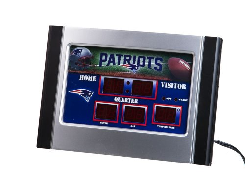 Team Sports America NFL New England Patriots Logo Scoreboard Alarm Desk Clock, Small, Multicolored