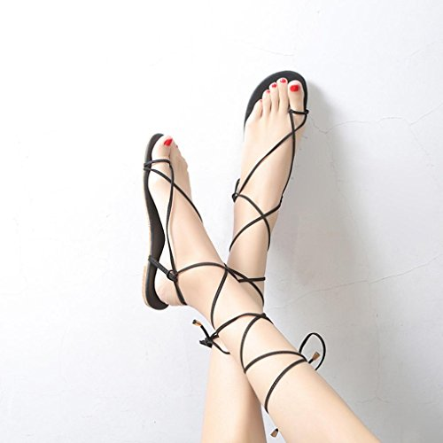 Clip HLHN Roman Black Flops Women Casual Lady Flip Ankle Flat Gladiator Strap Toe Sandals Shoes Heel Cross Vintage qErFxP4Ew
