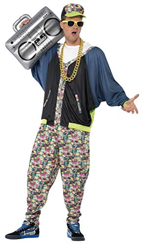 Smiffys Men's 80's Hip Hop Costume, Jacket, pants and Hat, Back to the 80's, Serious Fun, One Size, -