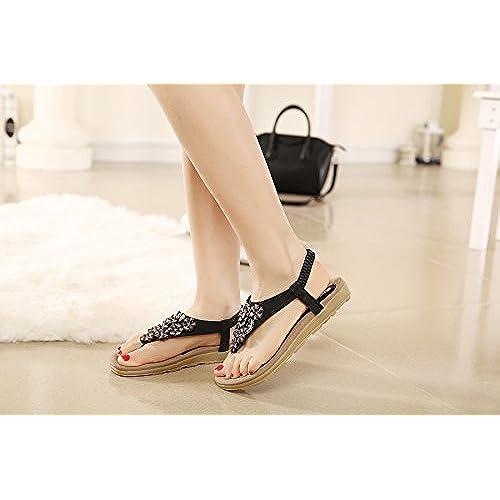 269de8d64816 Meeshine Women s Summer Thong Flat Sandals T-Strap Bohemian Rhinestone Slip  On Flip Flops Shoes