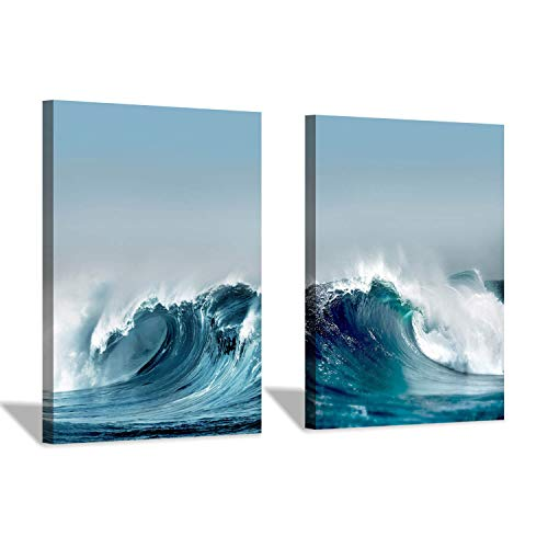 (Ocean Wave Canvas Wall Art: Aerial Shots Seascape Graphic Art Painting Print Picture for Dinging Room(16''x12''x2pcs))