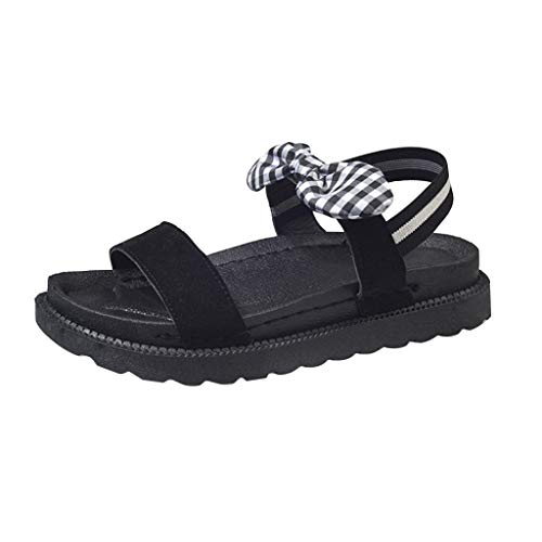 Fastbot Women's Summer Sandals Open Toe Casual Comfort Women New Bowknot Cute Shoes Thick-Soled Muffin Flat-Soled Black