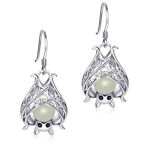 Apotie Sterling Silver Glow Cute Animal Bat Earrings