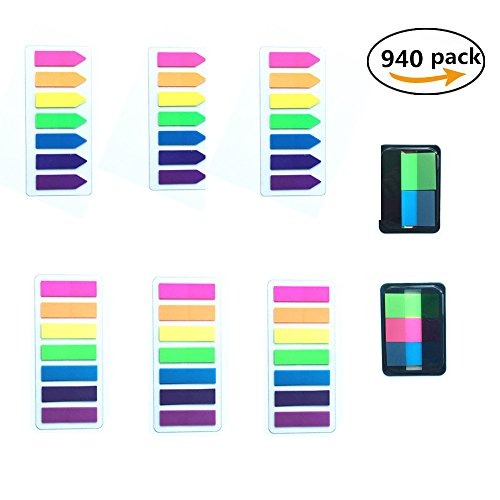 Permanent Blue Dispenser - Jelacy 940 pcs Page Markers- Colored Neon Page Tabs Index Tags Flags Labels for Pages Mark, Fluorescent Sticky Notes Memo Tabs Flags Stickers for Marking Transparent 8 Sets