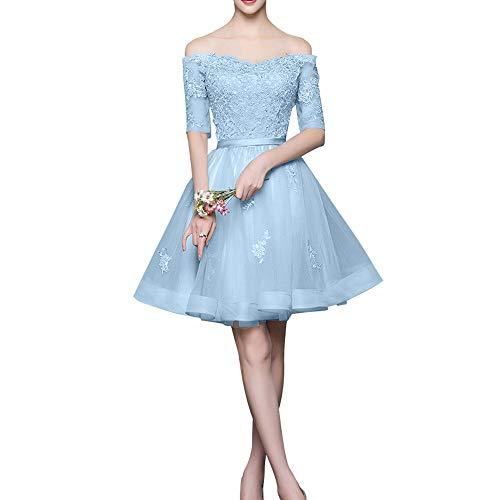 Langarm Promkleider Mini La Abendkleider Marie Silber Braut Himmel mit Schulterfrei Rock Cocktailkleider Spitze Blau xPAHUq