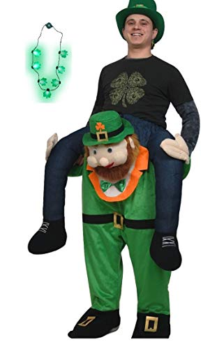 Adult St Patricks Day Carry Me Ride A Leprechaun Costume Shamrock Necklace Set