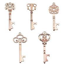 Key Bottle Openers - Assorted Vintage Skeleton Keys, Wedding Party Favors (Rose Gold, Pack of 25)
