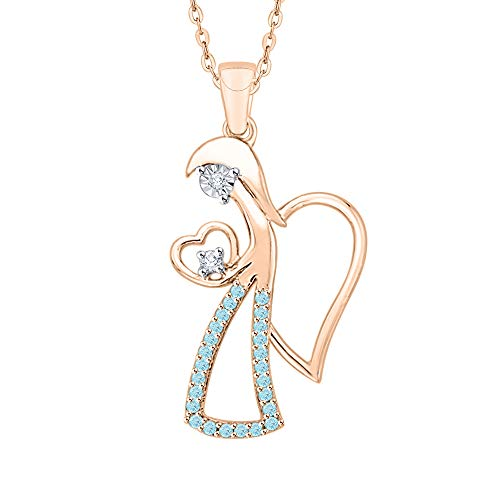 - KATARINA Diamond and Blue Topaz Miracle Plate Angel Heart Pendant Necklace in 10k Rose Gold (1/6 cttw, G-H, I2-I3)