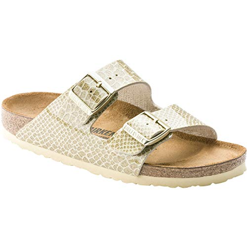 (Birkenstock Arizona Magic Snake Gold Birko-Flor 5 Regular US Women)