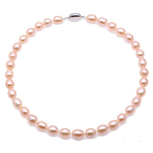 JYX Pink Pearl Necklace Natural 10-11mm Oval Pink Freshwater Pearl Necklace for Wedding Party Gift 18