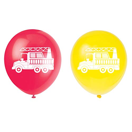 MAGJUCHE Firefighter Latex Balloons, 16pcs red and Yellow fire Truck Themed Birthday Party Decorations, Supplies