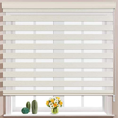 Keego Window Blinds Custom Cut to Size, Hemp Zebra Blinds with Dual Layer Roller Shades, [Size W 35 x H 48] Dual Layer Sheer or Privacy Light Control for Day and Night