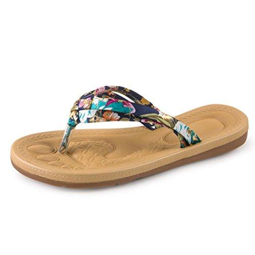 Fullkang Lady Fashion Weave Ribbon Mocassini Estivi Bohemia Sandali Beach Infradito Blu