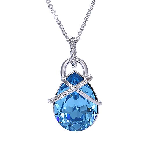 Costumes Dubai Marina (Xuping Christmas Cyber Monday Silver Color Plated Jewelry Crystals from Swarovski Necklace Pendant With Chain Women Girl Gift (Aquamarine))