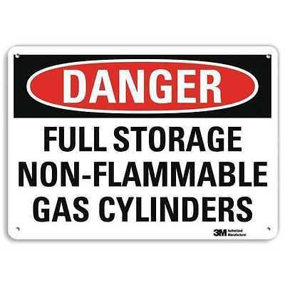 SmartSign by Lyle U3-1523-RA_10X7 DANGER FULL STORAGE NON-FLAMMABLE GAS CYLINDERS Reflective Recycled Aluminum Sign, 10