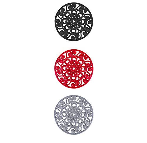 Trademark Innovations Decorative Cast Iron Metal Trivets (Set of 3), Multicolor ()