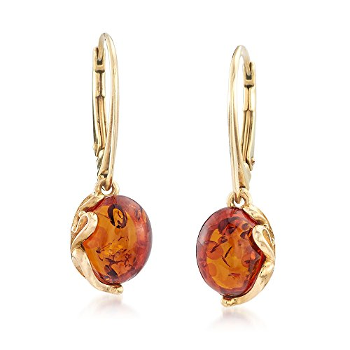 Ross-Simons Round Amber Drop Earrings in 18kt Gold Over Sterling