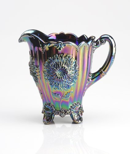 Amethyst Purple Carnival Glass Dahlia Flower Pattern Pitcher Made By Hand in Ohio
