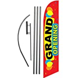 LookOurWay Grand Opening Feather Flag Complete Set with Pole and Ground Spike, Red